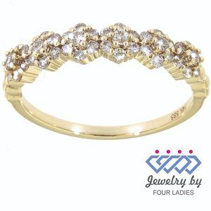 Diamond Half Eternity Band Jewelry 14K Yellow Gold